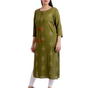 Jaipuri Women Olive Designer Kurta