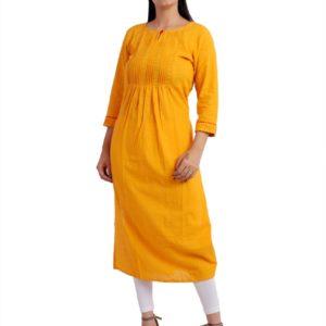 Jaipuri Women Yellow Designer Kurta